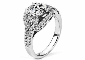 WOMENS DIAMOND ENGAGEMENT RING PRINCESS CUT 1.67 CARAT 18K WHITE GOLD
