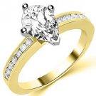 1.3 CARAT WOMENS DIAMOND ENGAGEMENT WEDDING RING PEAR SHAPE YELLOW GOLD