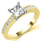 1.3 CARAT WOMENS DIAMOND ENGAGEMENT WEDDING RING PRINCESS SQUARE CUT YELLOW GOLD