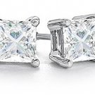 1 CARAT PRINCESS SQUARE CUT DIAMOND STUD EARRINGS WHITE GOLD SI2-3 H-I