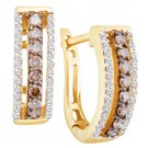 .48 CARAT BRILLIANT ROUND CUT  BROWN CHAMPAGNE DIAMOND HOOP EARRINGS YELLOW GOLD