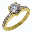 WOMENS 1.72 CARAT BRILLIANT ROUND CUT DIAMOND ENGAGEMENT RING HALO YELLOW GOLD