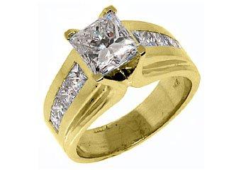 WOMENS 3 CARAT PRINCESS SQUARE CUT DIAMOND ENGAGEMENT RING YELLOW GOLD