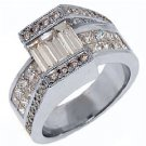 WOMENS 3 CARAT BAGUETTE PRINCESS SQUARE CUT DIAMOND ENGAGEMENT RING WHITE GOLD