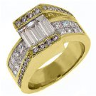 WOMENS 3 CARAT BAGUETTE PRINCESS SQUARE CUT DIAMOND ENGAGEMENT RING YELLOW GOLD