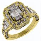 WOMENS 3 CARAT EMERALD ROUND CUT DIAMOND ENGAGEMENT HALO RING YELLOW GOLD