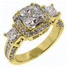 3.5 CARAT WOMENS 3-STONE DIAMOND ANNIVERSARY HALO RING PRINCESS CUT YELLOW GOLD