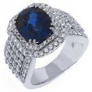 WOMENS BLUE SAPPHIRE DIAMOND ENGAGEMENT WEDDING RING CUSHION ROUND CUT 7 CARATS