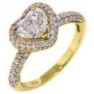 1.77 CARAT HEART SHAPE DIAMOND HALO ENGAGEMENT RING 14K YELLOW GOLD