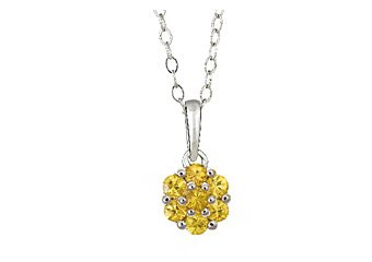 .63 CARAT WOMENS YELLOW SAPPHIRE FLOWER PENDANT  925 STERLING SILVER