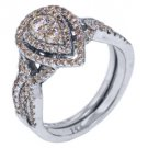 1 CARAT DIAMOND ENGAGEMENT RING WEDDING BAND BRIDAL SET PEAR SHAPE  WHITE GOLD