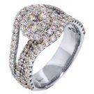 2 CARAT BRILLIANT ROUND CUT DIAMOND ENGAGEMENT RING  ILLUSION SET 18k WHITE GOLD