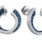 .75 CARAT BRILLIANT ROUND CUT BLUE DIAMOND HOOP EARRINGS WHITE GOLD
