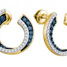 .75 CARAT BRILLIANT ROUND CUT BLUE DIAMOND HOOP EARRINGS YELLOW GOLD