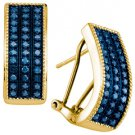 .65 CARAT BRILLIANT ROUND CUT BLUE DIAMOND HOOP EARRINGS YELLOW GOLD