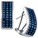 .65 CARAT BRILLIANT ROUND CUT BLUE DIAMOND HOOP EARRINGS WHITE GOLD