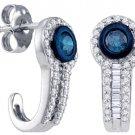 .65 CARAT BRILLIANT ROUND BAGUETTE CUT BLUE DIAMOND HOOP EARRINGS WHITE GOLD