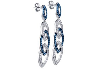 1.4 CARAT BRILLIANT ROUND CUT BLUE DIAMOND DANGLE EARRINGS WHITE GOLD