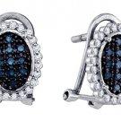 .34 CARAT BRILLIANT ROUND CUT BLUE DIAMOND DANGLE HALO EARRINGS WHITE GOLD