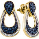 .68 CARAT BRILLIANT ROUND CUT BLUE DIAMOND DANGLE EARRINGS SILVER YELLOW RHODIUM
