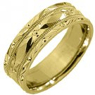 MENS WEDDING BAND ENGAGEMENT RING 14KT YELLOW GOLD HIGH GLOSS 6mm