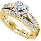 HEART SHAPE DIAMOND ENGAGEMENT PROMISE HALO RING WEDDING BAND BRIDAL SET GOLD