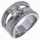 3.7 CARAT WOMENS DIAMOND ENGAGEMENT WEDDING RING PRINCESS SQUARE CUT WHITE GOLD