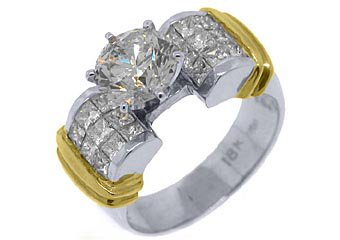 WOMENS 3 CARAT BRILLIANT ROUND SQUARE DIAMOND ENGAGEMENT RING TWO-TONE 18KT GOLD