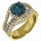 3.7 CARAT WOMENS BLUE DIAMOND ENGAGEMENT WEDDING HALO RING ROUND CUT YELLOW GOLD