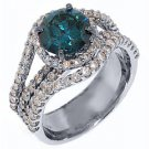 3.7 CARAT WOMENS BLUE DIAMOND ENGAGEMENT WEDDING HALO RING ROUND CUT WHITE GOLD