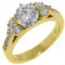 1.5 CARAT WOMENS DIAMOND ENGAGEMENT WEDDING RING BRILLIANT ROUND CUT YELLOW GOLD