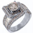 3.64 CARAT WOMENS DIAMOND ENGAGEMENT WEDDING RING ROUND BAGUETTE CUT WHITE GOLD