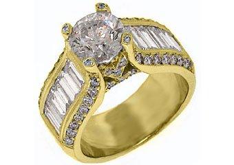 4.73 CARAT WOMENS DIAMOND ENGAGEMENT WEDDING RING ROUND BAGUETTE CUT YELLOW GOLD