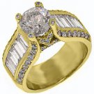 4.73 CARAT WOMENS DIAMOND ENGAGEMENT WEDDING RING ROUND BAGUETTE CUT YELLOW GOLD
