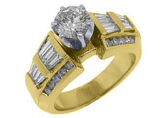 1.9 CARAT WOMENS DIAMOND ENGAGEMENT WEDDING RING ROUND BAGUETTE CUT YELLOW GOLD