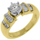 1.14 CARAT WOMENS DIAMOND ENGAGEMENT WEDDING RING ROUND BAGUETTE CUT YELLOW GOLD