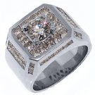 MENS 4.63 CARAT SOLITAIRE ROUND PRINCESS SQUARE CUT DIAMOND RING WHITE GOLD