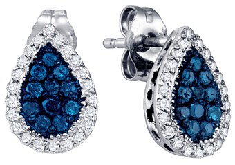 .53 CARAT BRILLIANT ROUND BLUE DIAMOND HALO EARRINGS PEAR SHAPE WHITE GOLD
