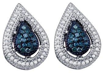 .40 CARAT TEAR DROP PEAR SHAPE BLUE DIAMOND STUD HALO EARRINGS WHITE GOLD