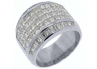 3.8CT WOMENS PRINCESS BAGUETTE INVISIBLE DIAMOND RING WEDDING BAND WHITE GOLD