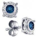 .10 CARAT BRILLIANT ROUND BLUE DIAMOND STUD EARRINGS 925 SILVER WHITE