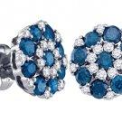 1.5 CARAT BRILLIANT ROUND CUT BLUE DIAMOND STUD EARRINGS WHITE GOLD