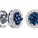 .25 CARAT BRILLIANT ROUND BLUE DIAMOND STUD HALO EARRINGS WHITE GOLD