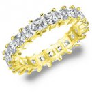 DIAMOND ETERNITY BAND WEDDING RING PRINCESS SQUARE YELLOW GOLD 3 CARAT PRONG SET