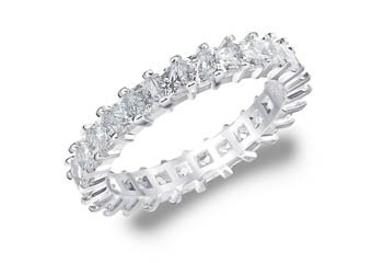 DIAMOND ETERNITY BAND WEDDING RING PRINCESS SQUARE WHITE GOLD 2.00 CARAT PRONG
