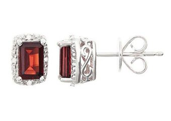 1.42CT GARNET DIAMOND HALO STUD EARRINGS EMERALD CUT SILVER JANUARY BIRTHSTONE