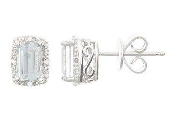 1.32 CARAT WHITE TOPAZ DIAMOND HALO STUD EARRINGS EMERALD CUT APRIL BIRTHSTONE