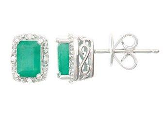 1.12 CARAT EMERALD DIAMOND HALO STUD EARRINGS EMERALD CUT SILVER MAY BIRTHSTONE