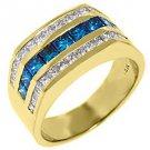 MENS 14KT YELLOW GOLD BLUE DIAMOND RING WEDDING BAND PRINCESS SQUARE CUT