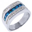 MENS 14KT WHITE GOLD BLUE DIAMOND RING WEDDING BAND PRINCESS SQUARE CUT